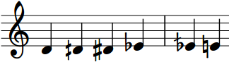 Musical Staff Showing 4 Notes Between D and E