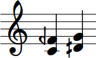 Two intervals: C and F semi-flat, and D semisharp and G
