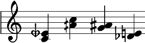 Musical staff showing four different septimal minor thirds notated